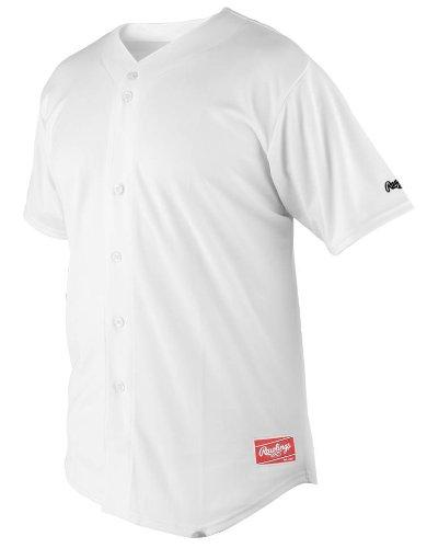 Rawlings Herren Full Button Jersey mit Raglanärmeln, Herren, RBJ150-W-90, weiß, Large