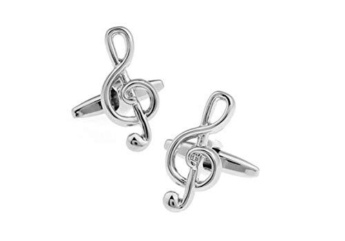 AmDxD Herren Manschettenknöpfe aus Edelstahl Musiknote Form Klassiker Manschettenknopf für Bräutigam Männer - Silber