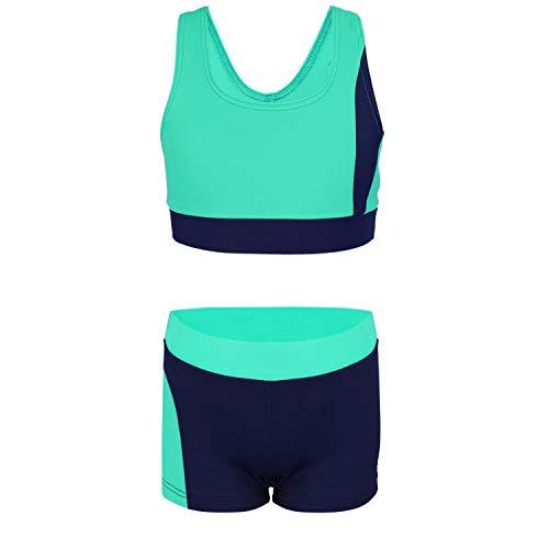 Aquarti Mädchen Sport Bikini - Racerback Bustier & Badehose, Farbe: Dunkelblau/Grün, Größe: 134