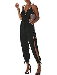 Walant Mode Femmes Combinaison Dos Nu sans Manches Col V Imprimé Floral  Camisole Barboteuse Jumpsuit D été Chic Élégant Slim… 439b5341c13