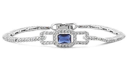 KnSam Damen Platin Plattiert Armband Armreif Hohlen Rechteck Blau Crystal Zirkonia [Neuheit (Kostüm König Hund Herzen Der)