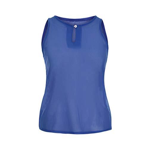 iHENGH Damen Sommer Top Bluse Bequem Lässig Mode T-Shirt Blusen Frauen beiläufige Chiffon Kurzarm Splice Lace Crop Top Bluse(Blau-1, 2XL) -