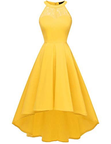 Dresstells Neckholder 50er Vintage Rockabilly Kleid Vokuhila Petticoat Hochzeit Cocktail Abendkleid Yellow - Lustige Kostüm Für Das Büro