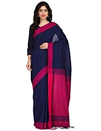 The Weave Traveller Women Cotton Handloom Hand Woven Saree with Attached Blouse (Blue,Free Size)