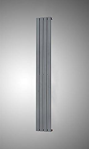 Simple Home Icaunus–Flat Radiateur vertical–Blanc Anthracite haute Noir brillant–1600mm de hauteur économiser de l'espace Radiateur–Chauffage central de luxe RAD–Support de fixation inclus–20ans de garantie, gris
