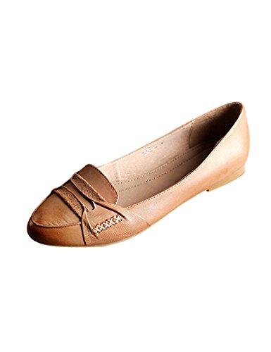 Youlee Femmes Fait main Tête ronde Chaussures plates en cuir Abricot