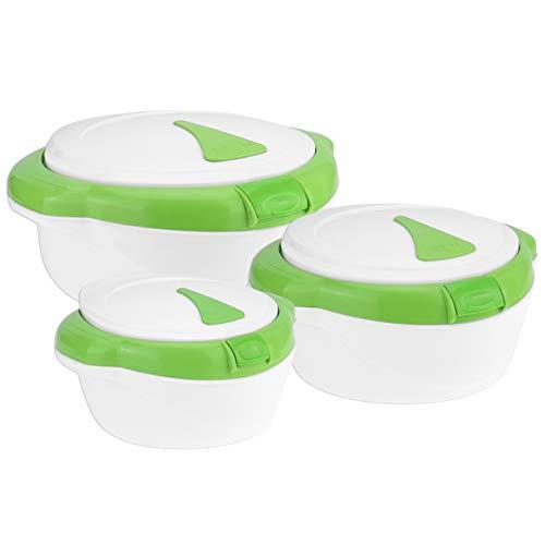 3-tlg. WELLGRO® Thermoschüssel SET - 1500ml, 1000ml und 500ml, mit Taste zum öffnen des Deckels, mit Edelstahleinsatz, weiß/grün, Kunststoff