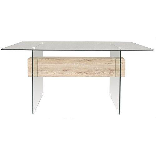 Tuoni pegaso tavolo, vetro temperato/legno rifinito, rovere/trasparente, 150x90x75 cm