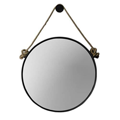 Retro Metall Wandbehang Spiegel mit Hanfseil Runde dekorative Badezimmer Spiegel kreative Make-up Rasieren Eisen Spiegel groß (Farbe : SCHWARZ, größe : 70cm)