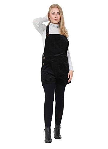 Cord Latzhose Shorts - schwarz kurze Latzhose Overalls für damen DEBBIE-M-12