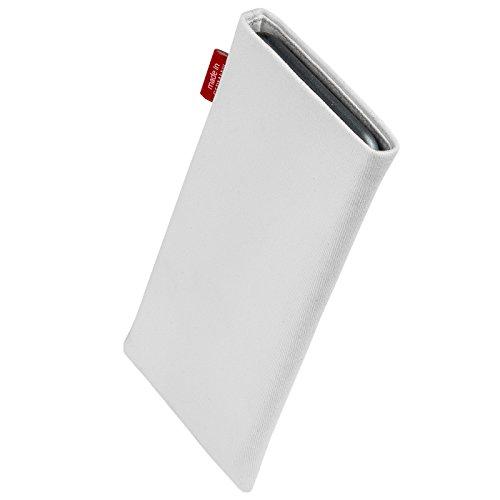 fitBAG Jive Grau Handytasche Tasche aus Textil-Stoff mit Microfaserinnenfutter für Apple iPhone 4 16GB 32GB iPhone4 16 32 GB Rock Weiß