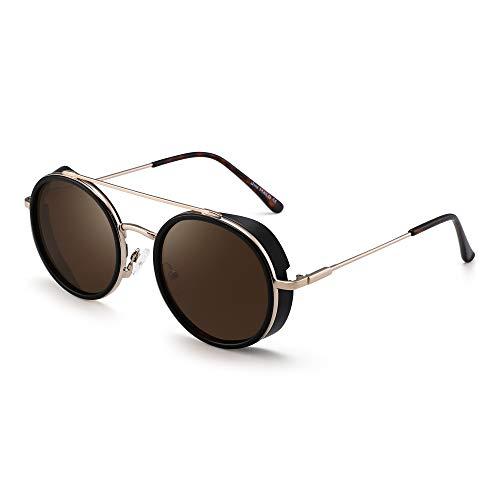 JIM HALO Retro Rund Steampunk Sonnenbrille Für Damen Herren Kreis Linsen Metall Rahmen(Mattschwarzer Rahmen/Braune Linse)