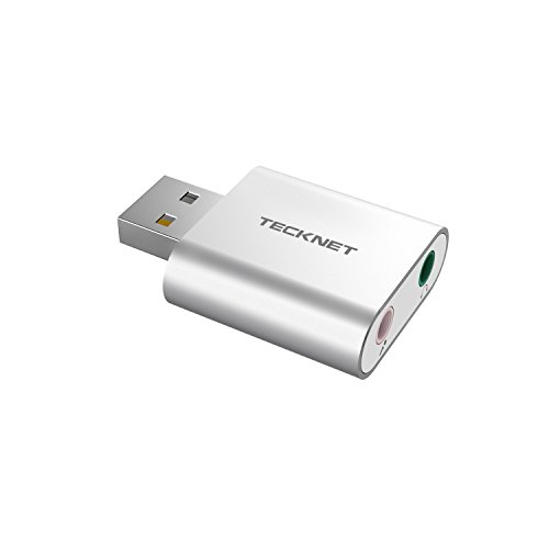 TeckNet Aluminum USB Sound Card External Stereo Sound Adapter For Windows and Mac, Plug and Play, No drivers Needed Test