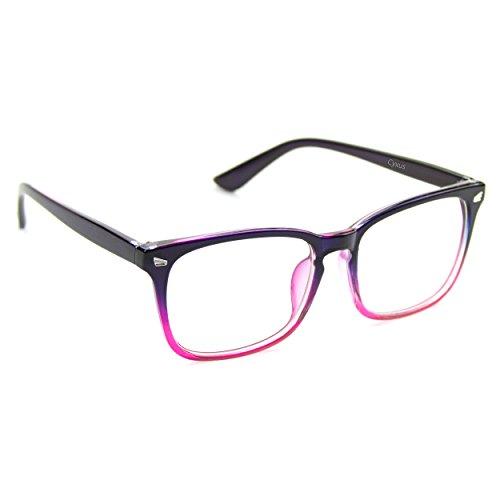 Cyxus Blaulichtfilter Computerbrille zur Blockierung von UV-Kopfschmerz [Augenbelastung reduzieren] Transparentes Objektiv, Unisex (Herren/Damen) (Farbverlauf rosa Rahmen)
