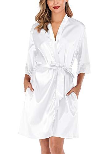 ABirdon Damen Morgenmantel Kimono Satin Bademantel Kurze Robe Taschen V Ausschnitt Sleepwear Mit Blumenspitze
