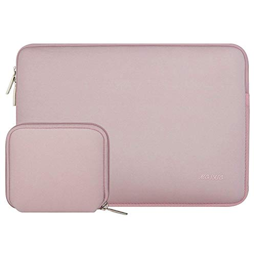 MOSISO Sleeve Hülle Tasche Kompatibel 15-15,6 Zoll MacBook Pro, Notebook Computer Wasserabweisend Neopren Laptophülle Laptoptasche Notebooktasche mit Kleinen Fall, Baby Rosa Rosa Laptop Sleeve