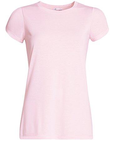 oodji Ultra Damen Gerades T-Shirt mit Schlitz auf Den Schultern Rosa (4000N)