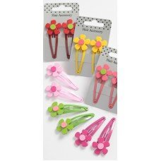 Pair of bright painted snap clips with bright acrylic flower, 6 colours by Talbot