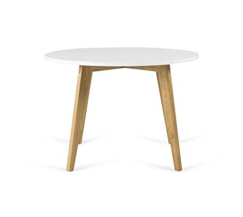 Tenzo 3620-001 Dine Designer Table Ronde, Blanc/Chêne, Plateau : Panneaux MDF laqués ép. 25 mm, 75,5 x Ø 110 cm (HxLxP)