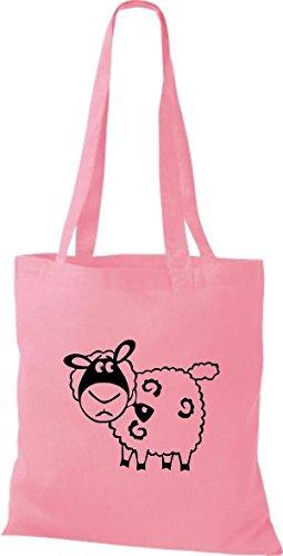 Shirtstown Stoffbeutel Tiere Schaf Schäfchen Rosa