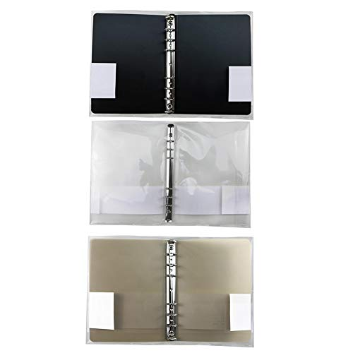 lti Holes Binder Ordner Aktendeckel Briefpapier PP Notebook-Schutz-Abdeckung mit Schnapp 3Stellen Transparent Braun und Schwarz ()