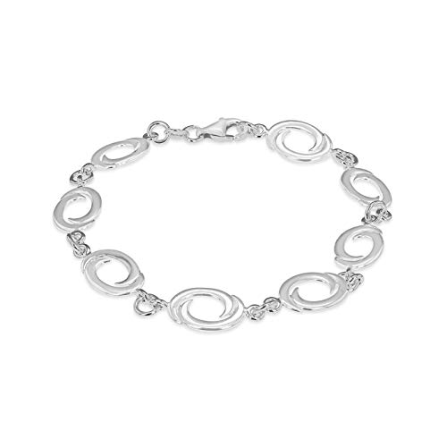 Tuscany Silver Armband Sterling Silber Oval Swirl Glied 19cm/7.5zoll International Silver Swirl