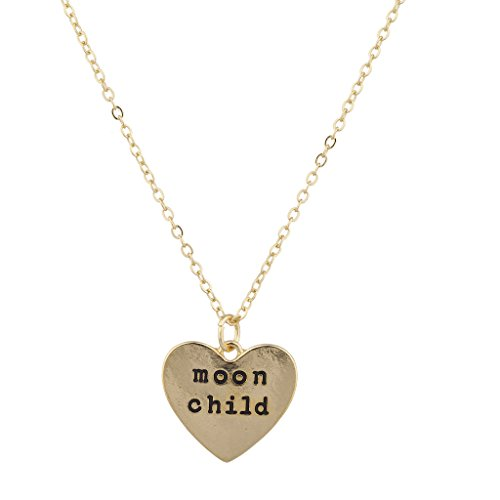 Lux Accessories Gold Tone Moon Child Heart Engraved Verbiage Charm Necklace