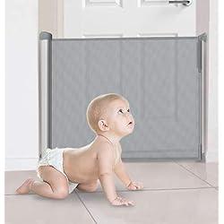 Callowesse® DELUXE Barrière de Sécurité Enroulable 0-110cm avec Boîtier en Aluminium - Convient pour les Escaliers, Portes et Couloirs - Serrure de Sécurité Enfant à une Main (Couleur: Gris)