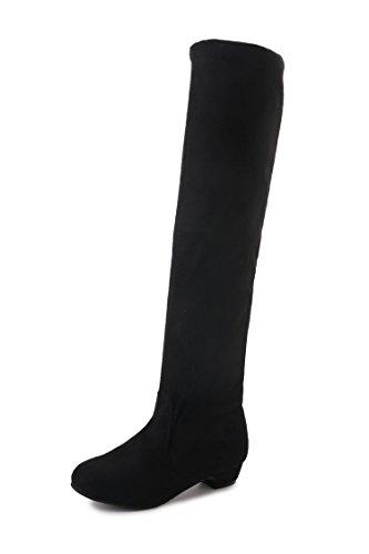 HUA&X Donna punta tonda tacco basso lungo piatto stivali scarpe Black