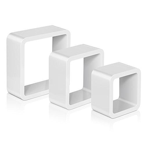 Amzdeal estanterías de pared cubos 3 piezas, estantes decorativos kit 27 22 18 para libros, CDs, Capacidad de peso 5 kg – blanco