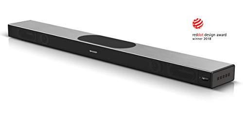SHARP HT-SBW420 (GR), 2.1 All-in-One Slim Soundbar mit eingebautem Subwoofer in Premium Aluminium-Design, App-Steuerung, WiFi, Bluetooth, 4K-Erlebnis, HDMI ARC/CEC und 220W Gesamtleistung, Grau