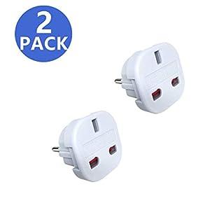 [ Pack of 2 ] JSDOIN Travel Adapter - UK to EU Euro European adapter White Plug 2 Pin (uk to eu-2pack)