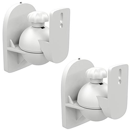deleyCON 2X Universal Lautsprecher Wandhalterung Halterung Boxen Halter Schwenkbar + Neigbar bis 3,5Kg Deckenmontage + Wandmontage - Weiß