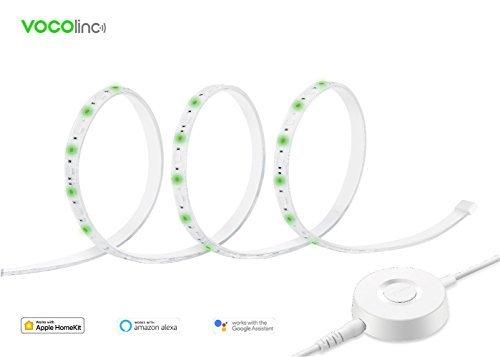 VOCOlinc LS1 Intelligente LED Licht Streifen (2m / 6,5 Fuß), Mehrfarbig, Dimmbar, Lichteffekte, Wasserdicht IP67, Arbeitet mit Apple HomeKit, Amazon Alexa und Google Assistant, Kein Hub Erforderlich, 12V / 2A, 2,4 GHz Wi-Fi und Controller