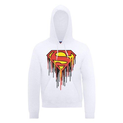 DC Comics Herren, Kapuzenpullover, DC0000336 DC Comics Official Superman Drip Logo Weiß - Weiß