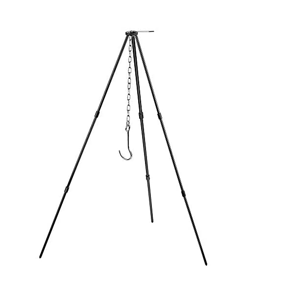 Zerich Camping Tripod Campfire Cooking Dutch Oven Tripod Portable Outdoor Picnic Foldable Cooking Tripod Barbecue Accessory Cooking Lantern Tripod Hanger with Storage Bag for Camping Activities#7824 1