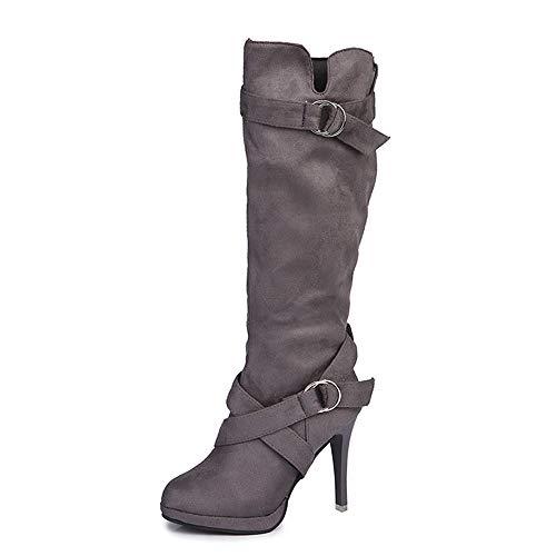 VECDY Damen Schuhe,Räumungsverkauf- Herbst Frauen Damen Schuhe Schnalle Römische Plattform High Heels Kniestiefel Lange Stiefel Lässige Stiefel Lange Hochhackige (grau,43)