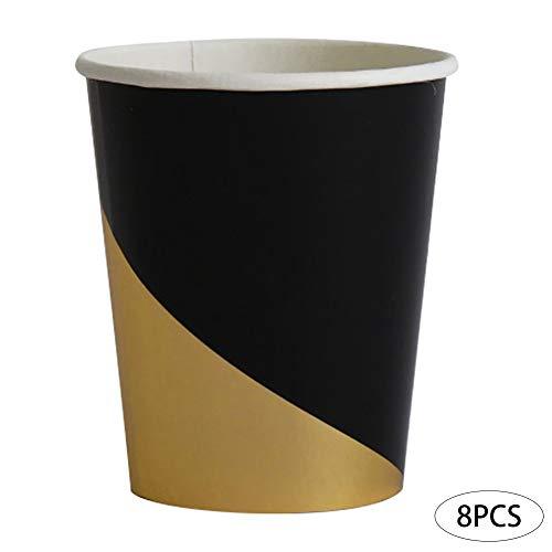 Romote 8pcs Einweg-Papierbecher Bronzing Goldparty Pappteller Party-Einweg-Geschirr-Abschluss-Geburtstags-Schwarz-Partei-Cup 8in