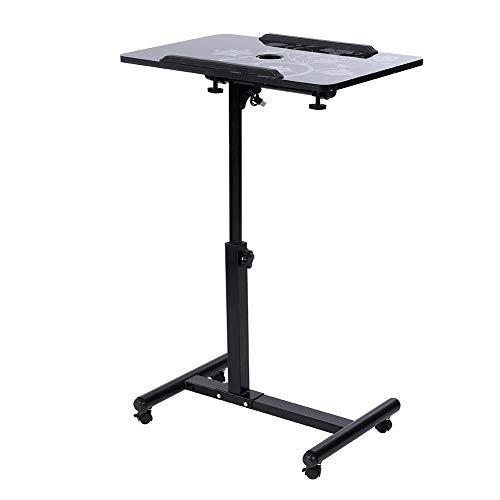 Gototop tavolino da letto carrello con ruote tavolino porta pc notebook proiettore laptop divano laptop desk con rotelle altezza regolabile 64cm-88cm (nero)