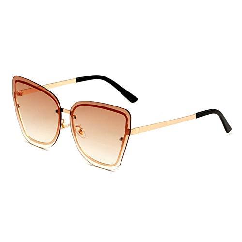 HQMGLASSES Women's Tone Frameless Sonnenbrille Gold Frame Cat Eye Oversized Designer Sun Brillen UV 400 Protected Driving Vacation Glasses,GoldFrame/GradientTea