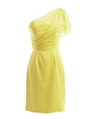 Dresstells, une épaule robe courte de demoiselle d'honneur en mousseline, robe de cocktail épaule asymétrique Jaune