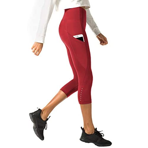 31kp5C3COFL. SS500  - LAPASA Women's Slimming Capris SOFT WIDE WAISTBAND Running Yoga Pants Wide Waistband Hidden Pocket L02, L33, L37, L38