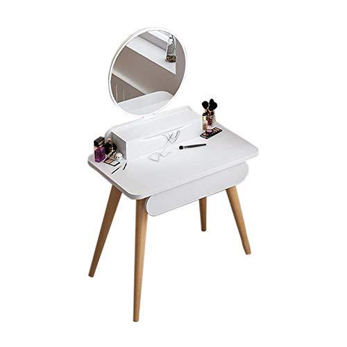 FENGFAN-Tocadores Blanco, tocador de Maquillaje Dormitorio Tocador casero con Espejo y tocador de la Caja de Almacenamiento (Size : B 60 * 45CM)