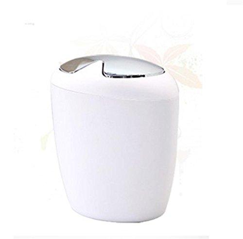 GMM® Papierkorb kann kreative einfache Müll Papierkorb Schlafzimmer Schlafzimmer Wohnzimmer Küche Mülleimer von Abfällen Plastic Shake Cover Korb mit Müllbeutel weiß (13 Gallone Küche Mülleimer)