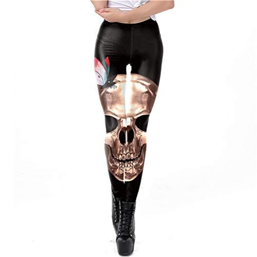 Ayujia Beängstigend Halloween Goldene Schädel Leggings Frauen Workout Digitaldruck Plus Größe Hosen Butterfly Fitness ()