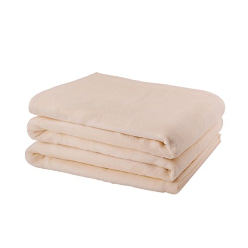 Etérea 2 tlg Premium Flauschige Baumwolle Schlafdecke, Kuscheldecke - 150x200 cm Creme Uni