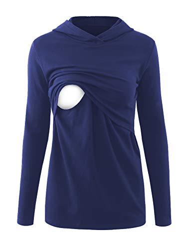 Love2Mi Umstandsmode Damen Kapuzenpullover Stillzeit Top Zweilagiges Sweatshirt Stillshirt Kleidung