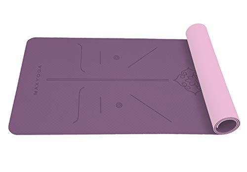MAXYOGA® MaxDirect Esterilla Yoga con Sistema de Alineación del Cuerpo. Colchoneta Yoga Mat Antideslizante y Ligera de Material Ecológico TPE. Tamaño Ideal 183cm x 61cm x 6mm. - Morado