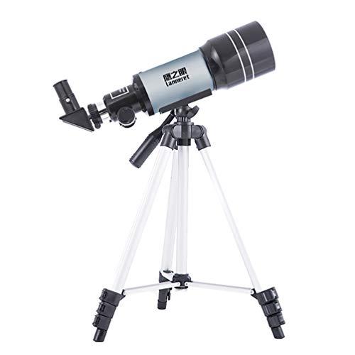 S-AIM Telescopio astronómico Telescopio Refractor de 150 Veces el Ritmo, 300/70 mm. Clip para teléfono Celular. Filtro Solar. Telescopio de Viaje. Buen compañero para Ver la Luna y el Planeta.
