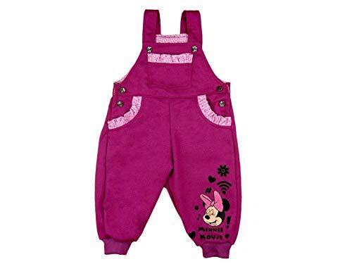 Bequeme Mädchen Baby Kleinkind Latzhose Freizeithose Jogginghose Pumphose aus 100% Baumwolle in Grösse 74 80 86 92 mit Minnie Mouse Motiv von Disney in Rosa und Grau Farbe Rosa, Größe 74